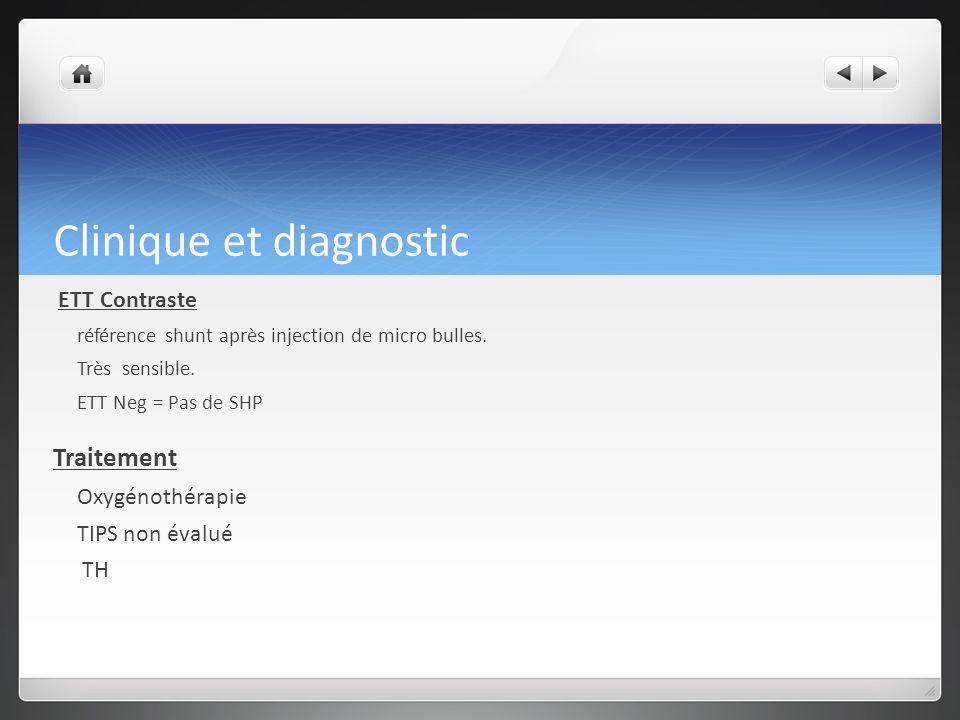 Clinique et diagnostic ETT Contraste référence shunt après injection de micro bulles.