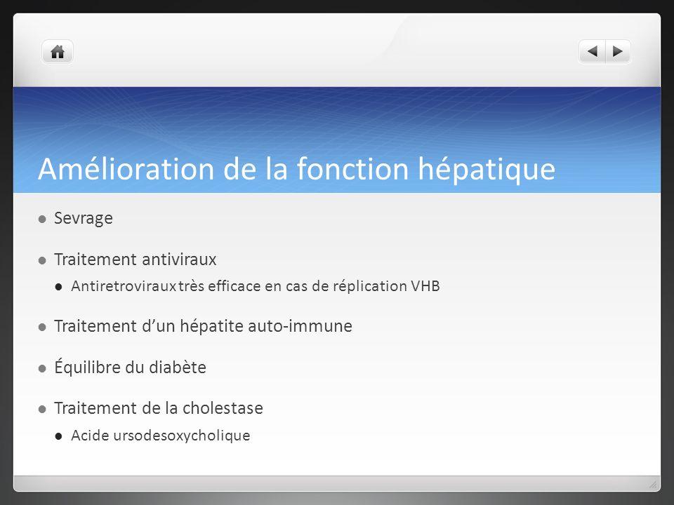 Amélioration de la fonction hépatique Sevrage Traitement antiviraux Antiretroviraux très efficace en cas de réplication VHB Traitement dun hépatite auto-immune Équilibre du diabète Traitement de la cholestase Acide ursodesoxycholique