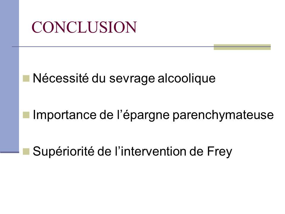 CONCLUSION Nécessité du sevrage alcoolique Importance de lépargne parenchymateuse Supériorité de lintervention de Frey