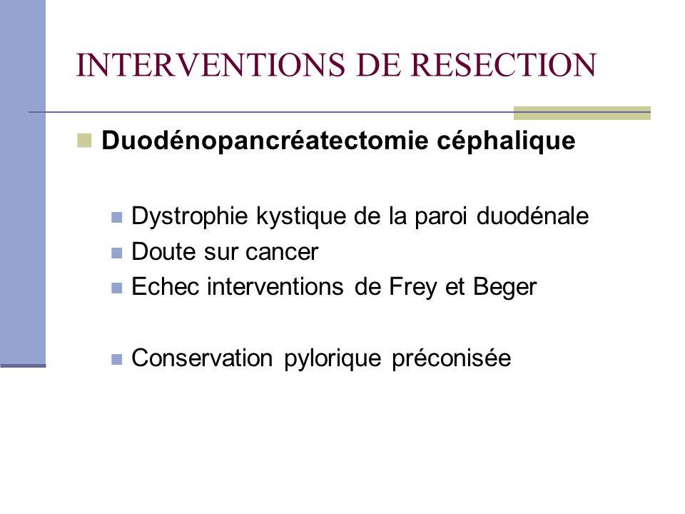INTERVENTIONS DE RESECTION Duodénopancréatectomie céphalique Dystrophie kystique de la paroi duodénale Doute sur cancer Echec interventions de Frey et