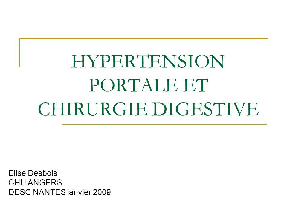 HYPERTENSION PORTALE ET CHIRURGIE DIGESTIVE Elise Desbois CHU ANGERS DESC NANTES janvier 2009