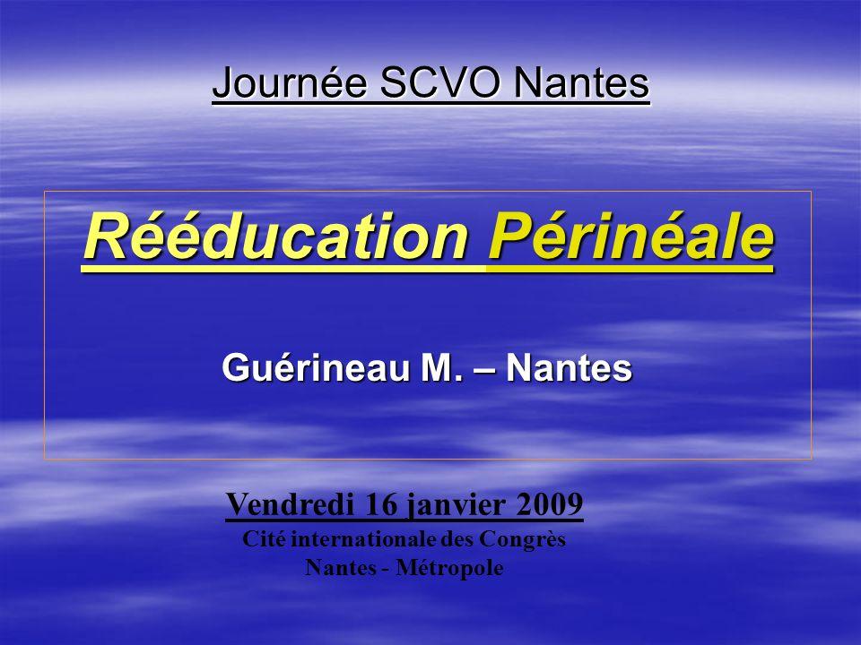 Journée SCVO Nantes Rééducation Périnéale Guérineau M. – Nantes Vendredi 16 janvier 2009 Cité internationale des Congrès Nantes - Métropole