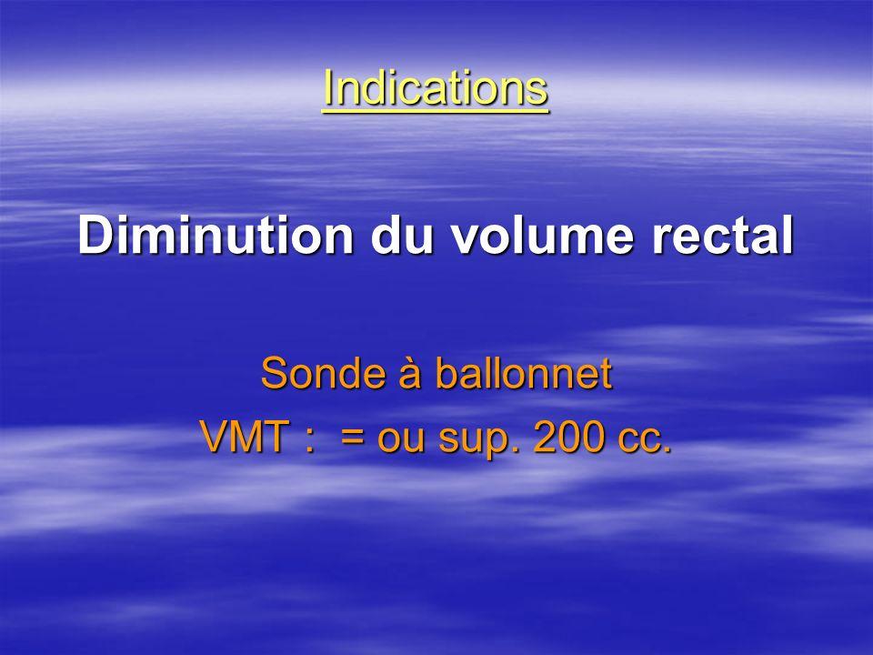 Indications Diminution du volume rectal Sonde à ballonnet VMT : = ou sup. 200 cc.