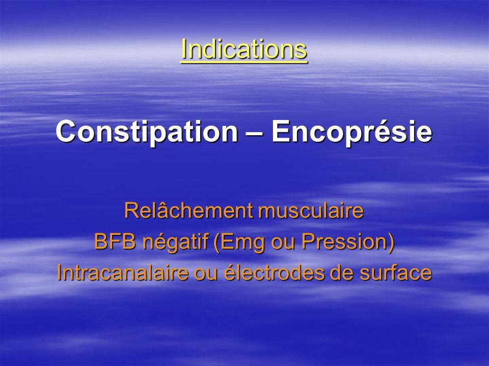 Indications Constipation – Encoprésie Relâchement musculaire BFB négatif (Emg ou Pression) Intracanalaire ou électrodes de surface