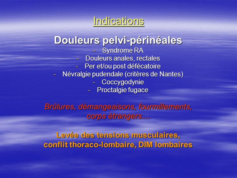 Indications Douleurs pelvi-périnéales -Syndrome RA -Douleurs anales, rectales -Per et/ou post défécatoire -Névralgie pudendale (critères de Nantes) -C