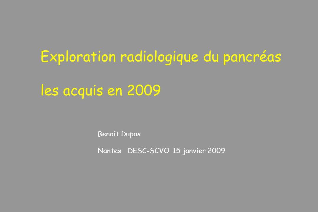 Exploration radiologique du pancréas les acquis en 2009 Benoît Dupas Nantes DESC-SCVO 15 janvier 2009
