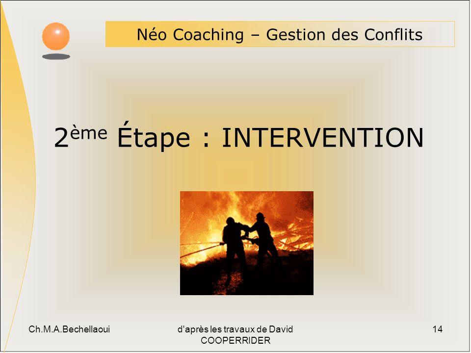 Ch.M.A.Bechellaouid après les travaux de David COOPERRIDER 14 2 ème Étape : INTERVENTION Néo Coaching – Gestion des Conflits