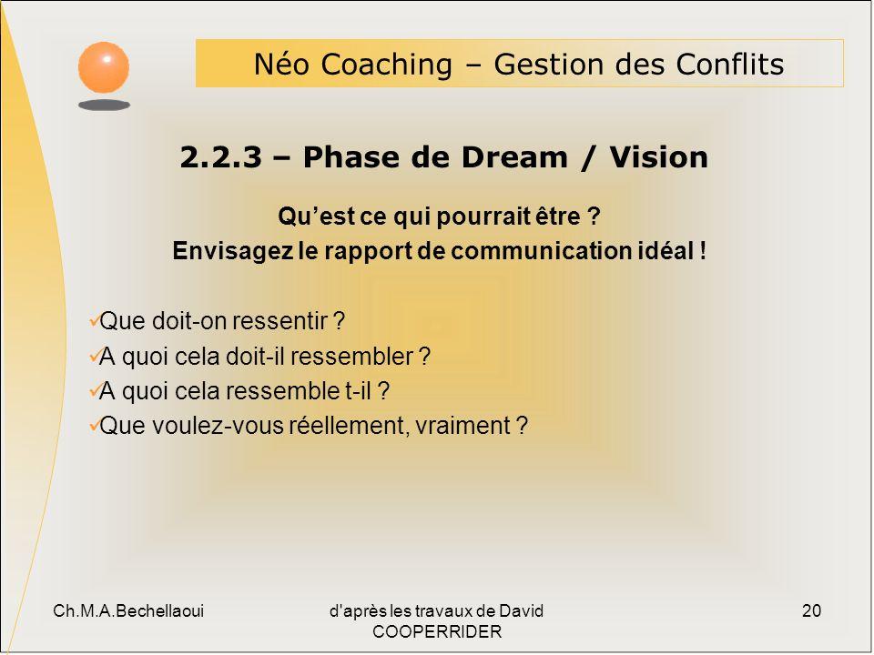 Ch.M.A.Bechellaouid après les travaux de David COOPERRIDER 20 2.2.3 – Phase de Dream / Vision Néo Coaching – Gestion des Conflits Quest ce qui pourrait être .