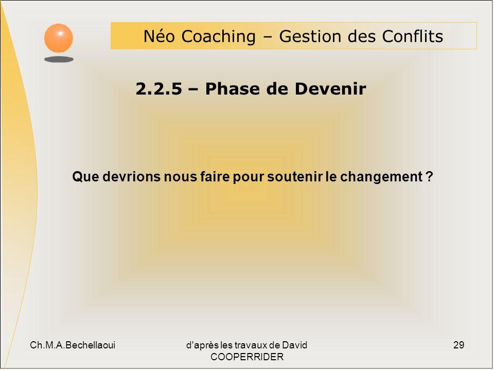 Ch.M.A.Bechellaouid après les travaux de David COOPERRIDER 29 2.2.5 – Phase de Devenir Néo Coaching – Gestion des Conflits Que devrions nous faire pour soutenir le changement ?
