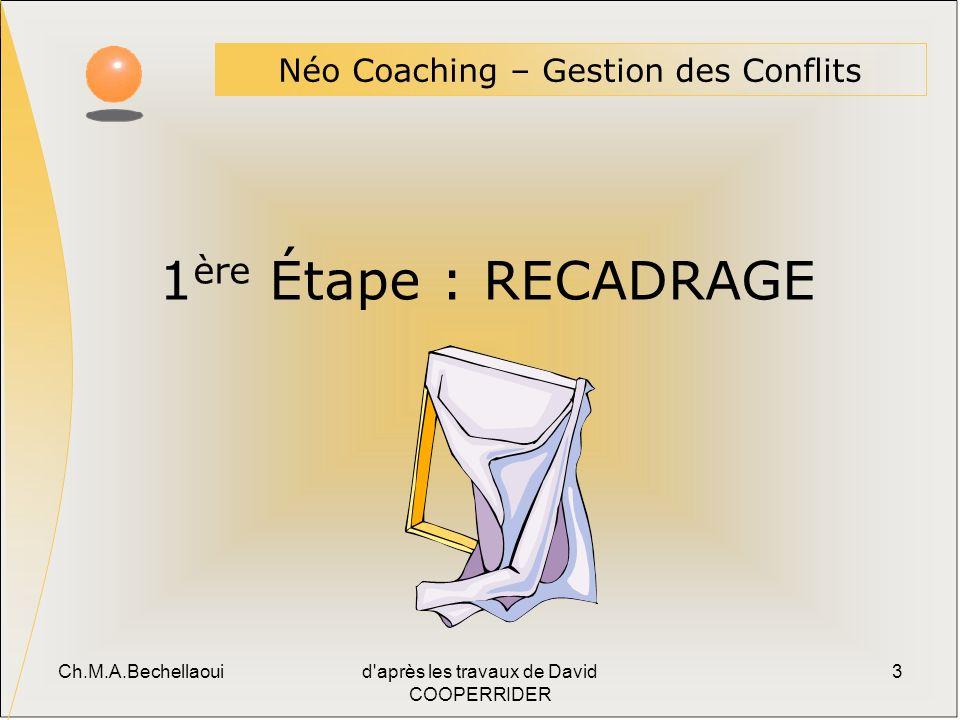 Ch.M.A.Bechellaouid après les travaux de David COOPERRIDER 3 1 ère Étape : RECADRAGE Néo Coaching – Gestion des Conflits