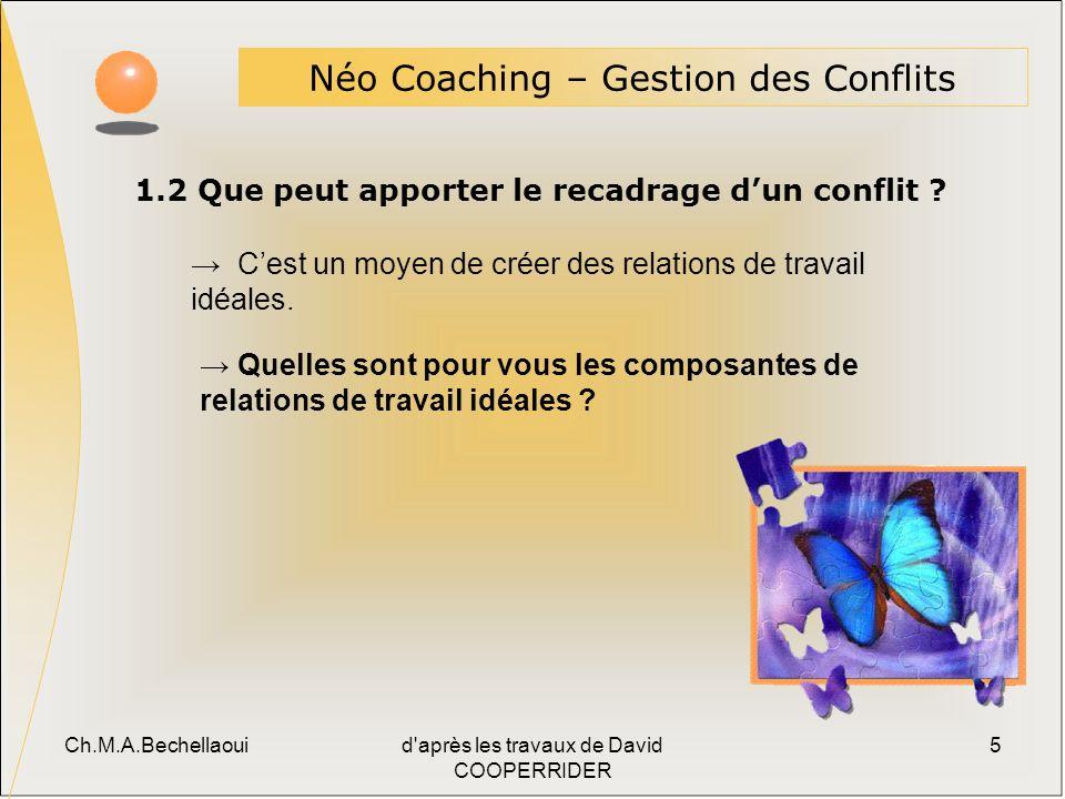 Ch.M.A.Bechellaouid après les travaux de David COOPERRIDER 5 1.2 Que peut apporter le recadrage dun conflit .