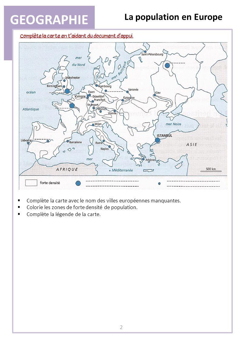 GEOGRAPHIE La population en Europe 3 II) Lévolution de la population a.
