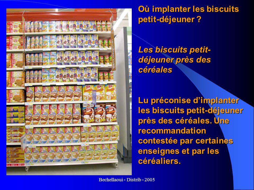 Bechellaoui - Distrib - 2005 Où implanter les biscuits petit-déjeuner ? Les biscuits petit- déjeuner près des céréales Lu préconise dimplanter les bis