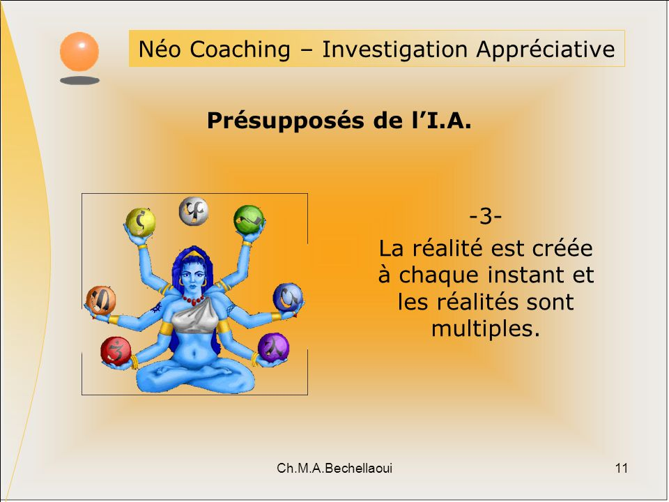 Ch.M.A.Bechellaoui11 Néo Coaching – Investigation Appréciative Présupposés de lI.A. -3- La réalité est créée à chaque instant et les réalités sont mul