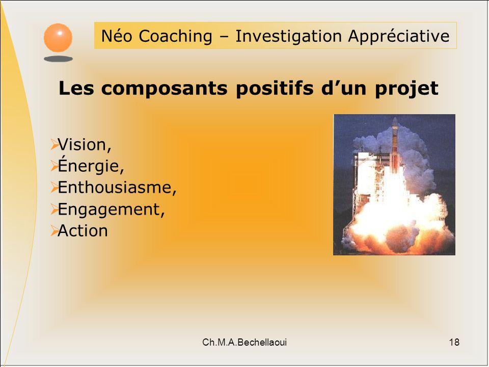 Ch.M.A.Bechellaoui18 Néo Coaching – Investigation Appréciative Vision, Énergie, Enthousiasme, Engagement, Action Les composants positifs dun projet