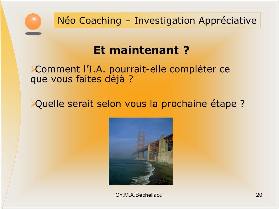 Ch.M.A.Bechellaoui20 Néo Coaching – Investigation Appréciative Et maintenant ? Comment lI.A. pourrait-elle compléter ce que vous faites déjà ? Quelle