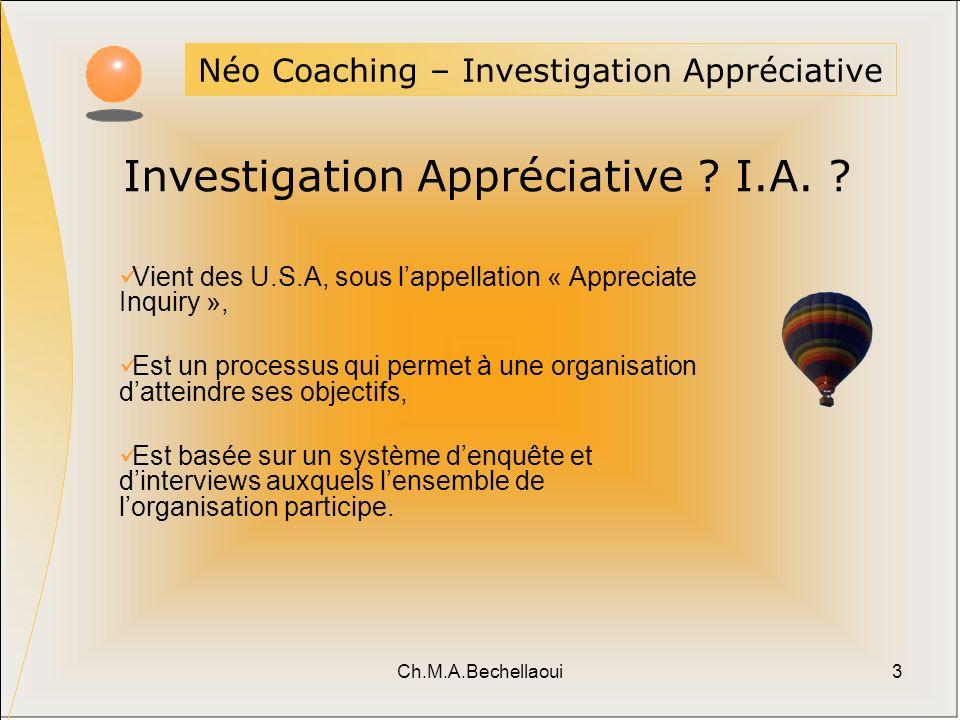 Ch.M.A.Bechellaoui3 Néo Coaching – Investigation Appréciative Investigation Appréciative ? I.A. ? Vient des U.S.A, sous lappellation « Appreciate Inqu