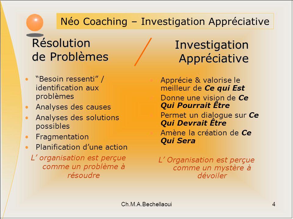 Ch.M.A.Bechellaoui4 Néo Coaching – Investigation Appréciative Besoin ressenti / identification aux problèmes Analyses des causes Analyses des solution