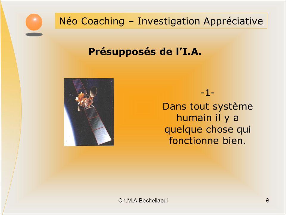 Ch.M.A.Bechellaoui9 Néo Coaching – Investigation Appréciative Présupposés de lI.A. -1- Dans tout système humain il y a quelque chose qui fonctionne bi