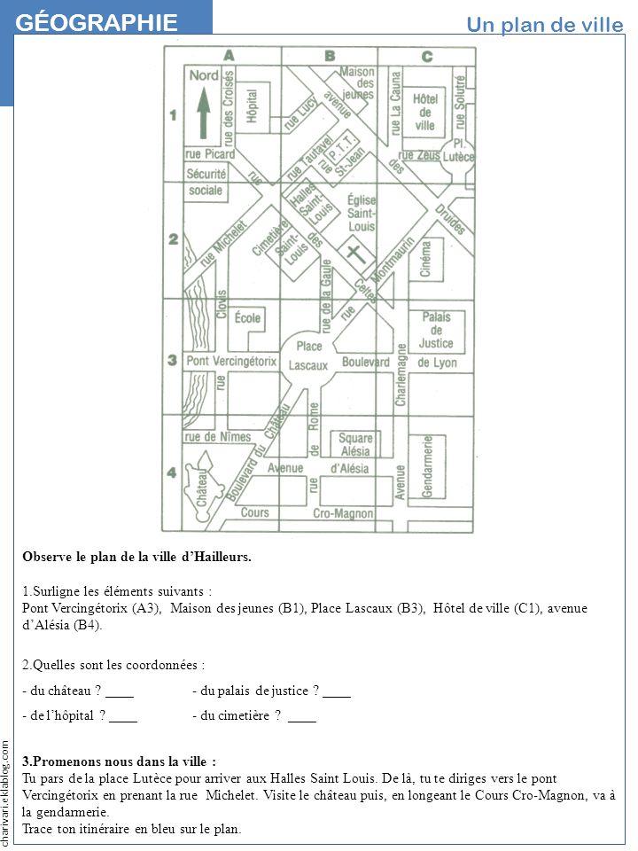 charivari.eklablog.com GÉOGRAPHIE NOM Un plan de ville Observe le plan de la ville dHailleurs. 1.Surligne les éléments suivants : Pont Vercingétorix (