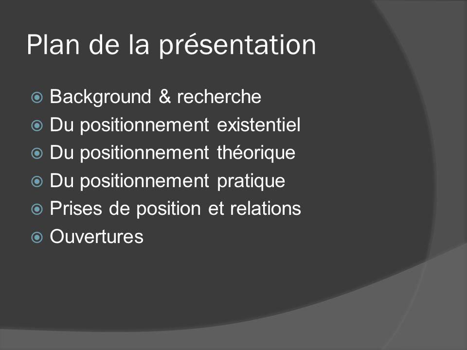 Plan de la présentation Background & recherche Du positionnement existentiel Du positionnement théorique Du positionnement pratique Prises de position