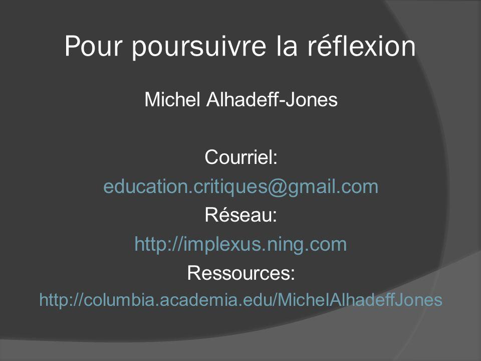 Pour poursuivre la réflexion Michel Alhadeff-Jones Courriel: education.critiques@gmail.com Réseau: http://implexus.ning.com Ressources: http://columbi
