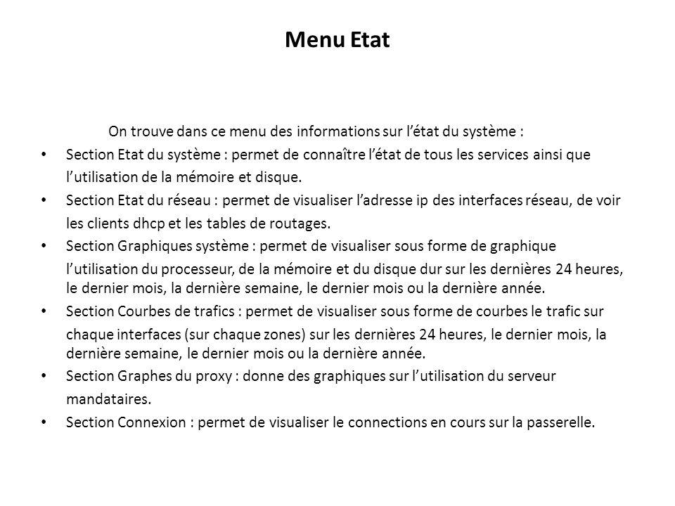 Menu Etat On trouve dans ce menu des informations sur létat du système : Section Etat du système : permet de connaître létat de tous les services ainsi que lutilisation de la mémoire et disque.