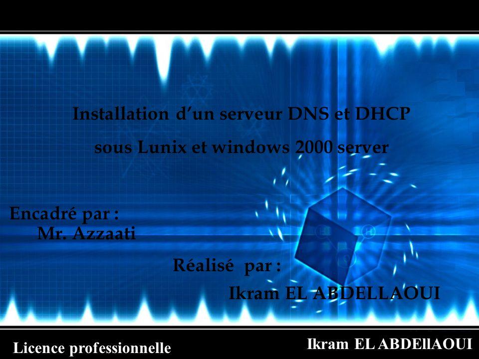 Ikram EL ABDEllAOUI Licence professionnelle Installation et configuration de DHCP sous Windows 2000 serveur A chaque fois que le serveur DHCP attribuera une adresse, il fera une mise à jour automatique dans le DNS si un DNS est installé.