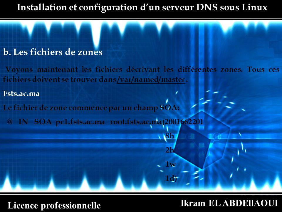Ikram EL ABDEllAOUI Licence professionnelle Installation et configuration dun serveur DNS sous Linux b. Les fichiers de zones Voyons maintenant les fi