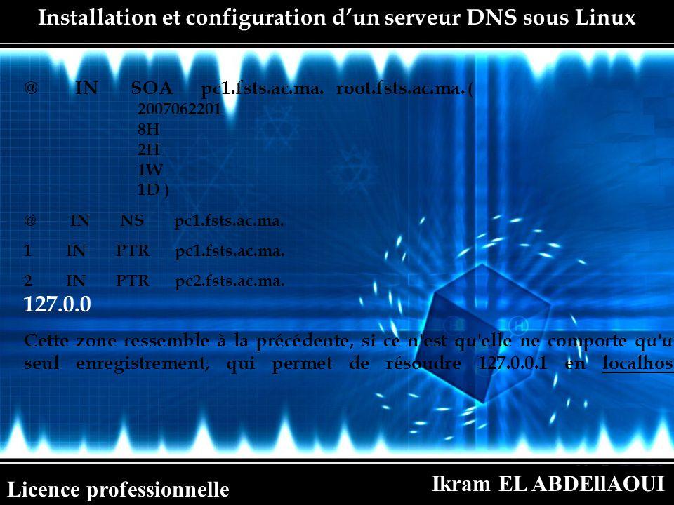 Ikram EL ABDEllAOUI Licence professionnelle Installation et configuration dun serveur DNS sous Linux @ IN SOA pc1.fsts.ac.ma. root.fsts.ac.ma. ( 20070