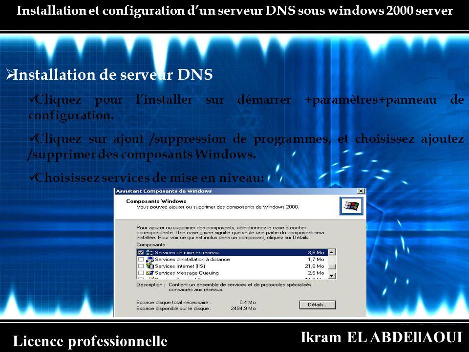 Ikram EL ABDEllAOUI Licence professionnelle Installation et configuration dun serveur DNS sous windows 2000 server Installation de serveur DNS Cliquez