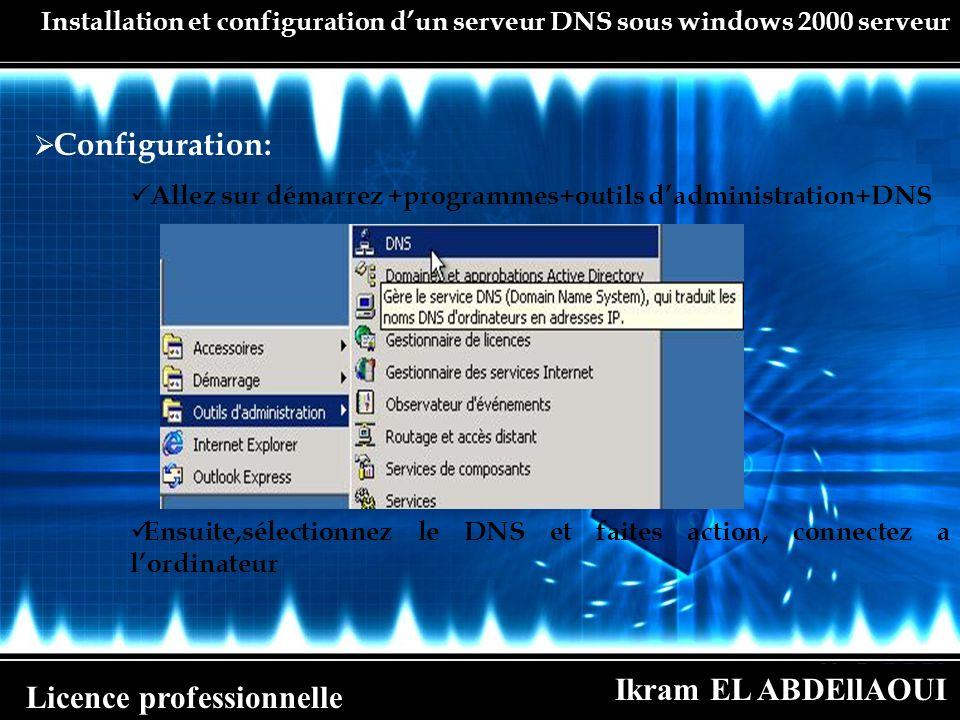 Ikram EL ABDEllAOUI Licence professionnelle Installation et configuration dun serveur DNS sous windows 2000 serveur Configuration: Allez sur démarrez