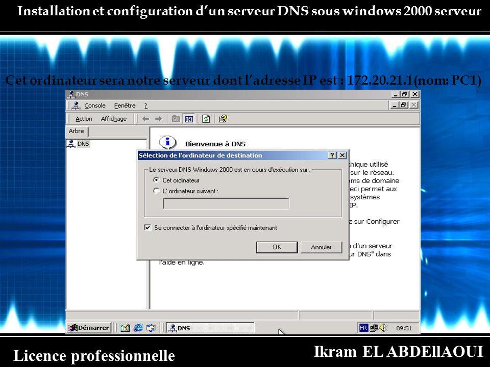 Ikram EL ABDEllAOUI Licence professionnelle Installation et configuration dun serveur DNS sous windows 2000 serveur Cet ordinateur sera notre serveur