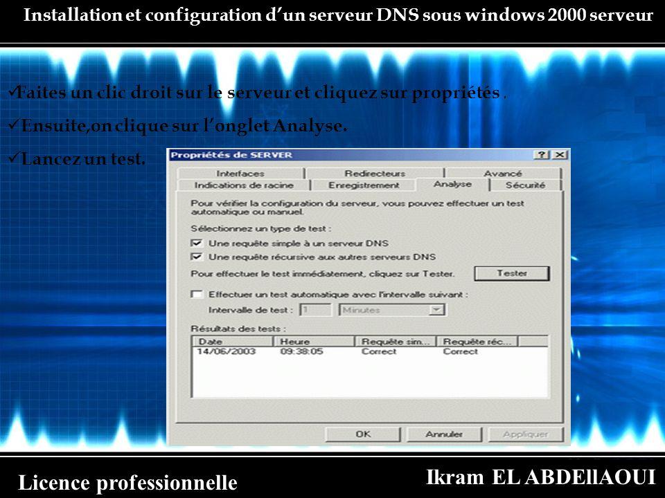 Ikram EL ABDEllAOUI Licence professionnelle Installation et configuration dun serveur DNS sous windows 2000 serveur Faites un clic droit sur le serveu