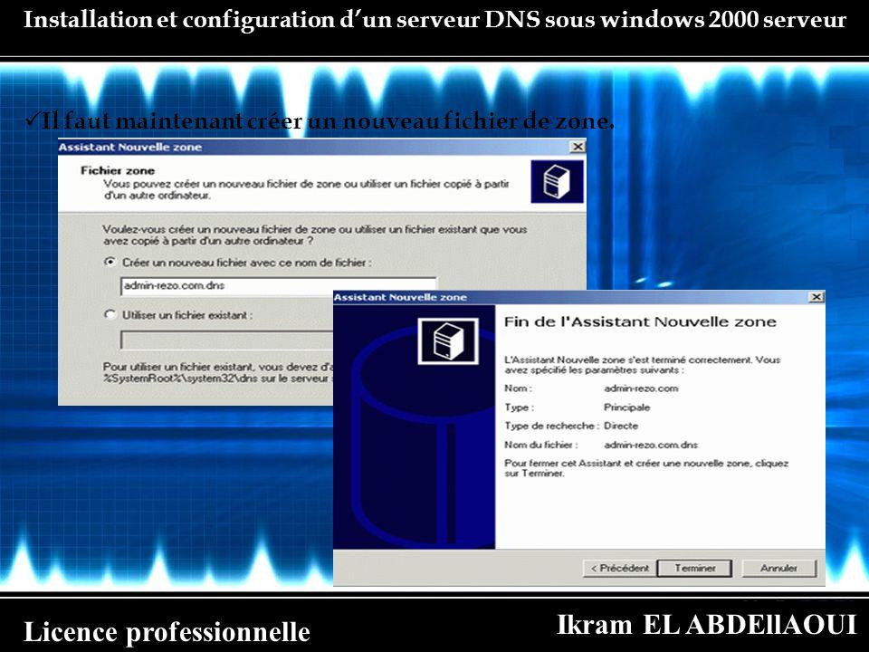 Ikram EL ABDEllAOUI Licence professionnelle Installation et configuration dun serveur DNS sous windows 2000 serveur Il faut maintenant créer un nouvea