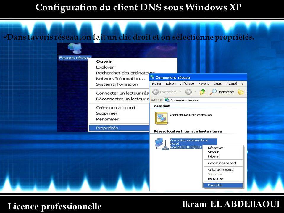 Ikram EL ABDEllAOUI Licence professionnelle Configuration du client DNS sous Windows XP Dans favoris réseau,on fait un clic droit et on sélectionne pr