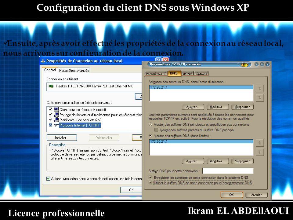 Ikram EL ABDEllAOUI Licence professionnelle Configuration du client DNS sous Windows XP Ensuite, après avoir effectué les propriétés de la connexion a