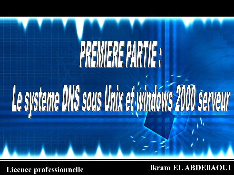 Ikram EL ABDEllAOUI Licence professionnelle Installation et configuration dun serveur DNS sous windows 2000 server Installation de serveur DNS Cliquez pour linstaller sur démarrer +paramètres+panneau de configuration.