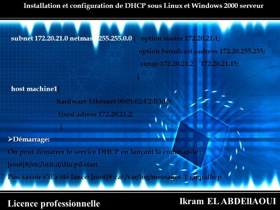 Ikram EL ABDEllAOUI Licence professionnelle Installation et configuration de DHCP sous Linux et Windows 2000 serveur subnet 172.20.21.0 netmask 255.25