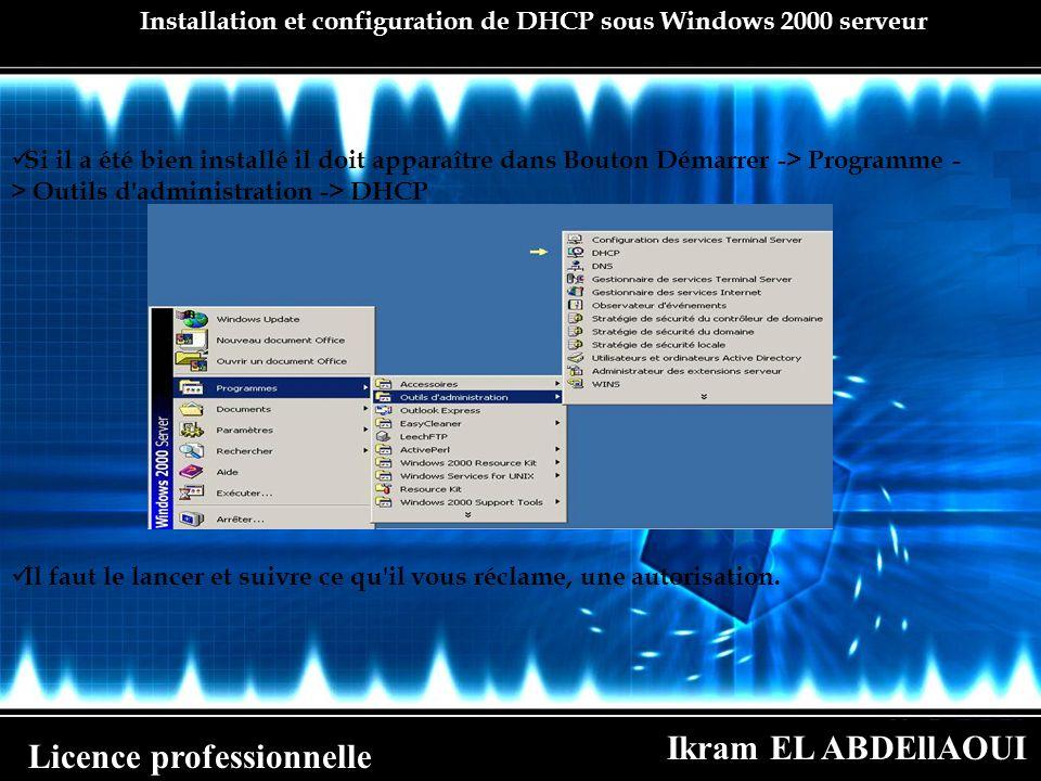 Ikram EL ABDEllAOUI Licence professionnelle Installation et configuration de DHCP sous Windows 2000 serveur Si il a été bien installé il doit apparaît