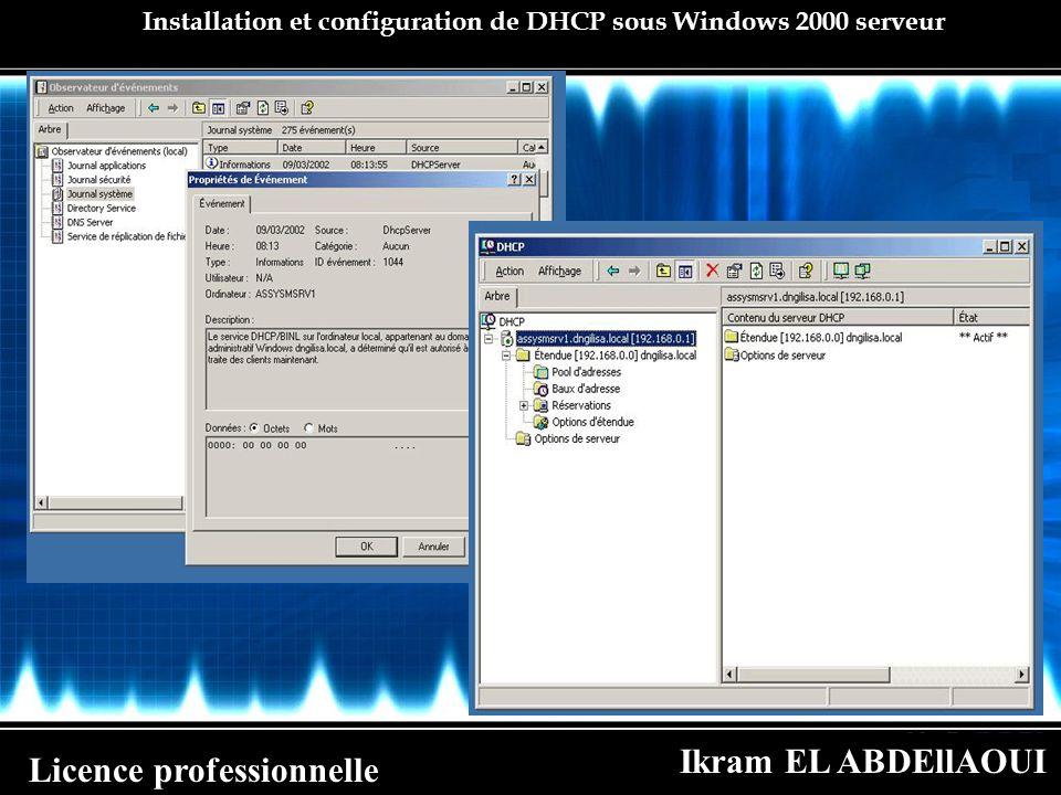 Ikram EL ABDEllAOUI Licence professionnelle Installation et configuration de DHCP sous Windows 2000 serveur