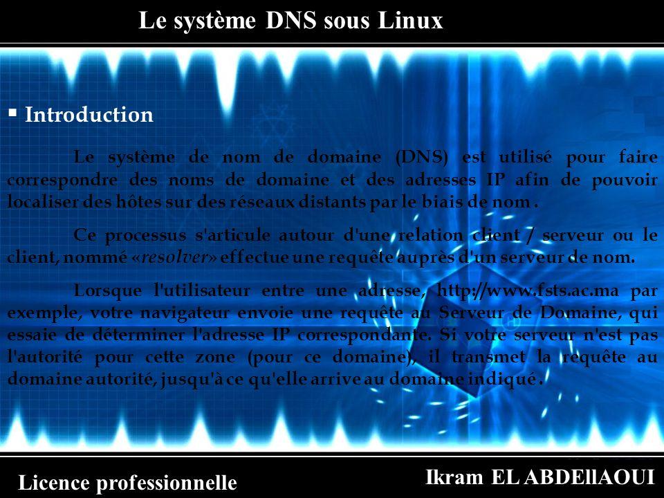 Ikram EL ABDEllAOUI Licence professionnelle Le système DNS sous Linux Les types de serveur DNS Tout serveur de noms peut être simultanément maître ou esclave pour différentes zones et peut aussi être considéré comme faisant autorité pour de multiples zones.