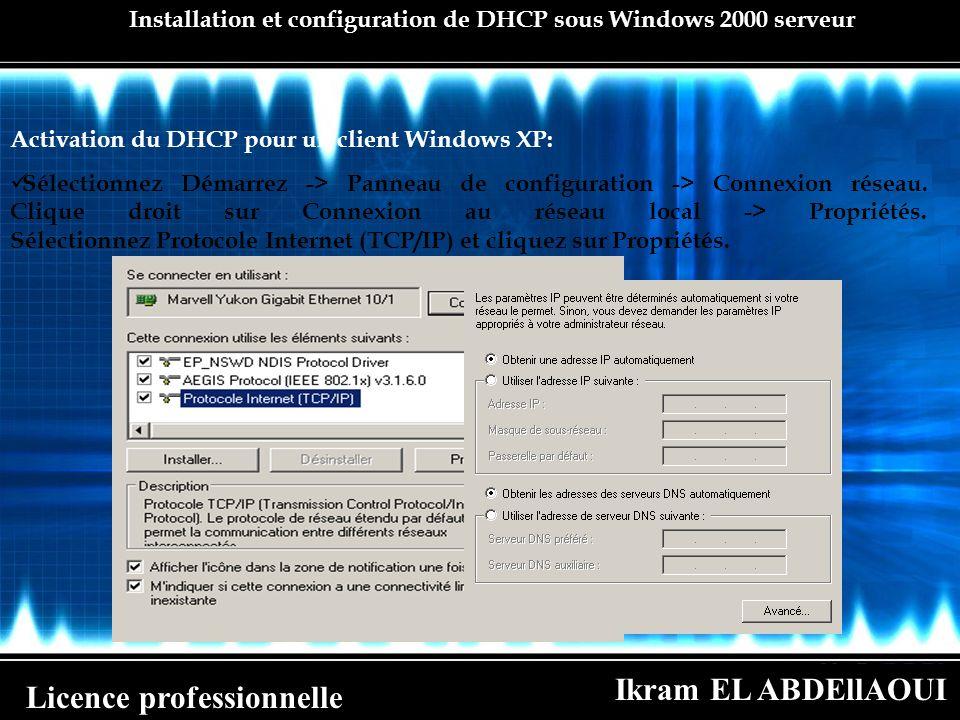 Ikram EL ABDEllAOUI Licence professionnelle Installation et configuration de DHCP sous Windows 2000 serveur Activation du DHCP pour un client Windows