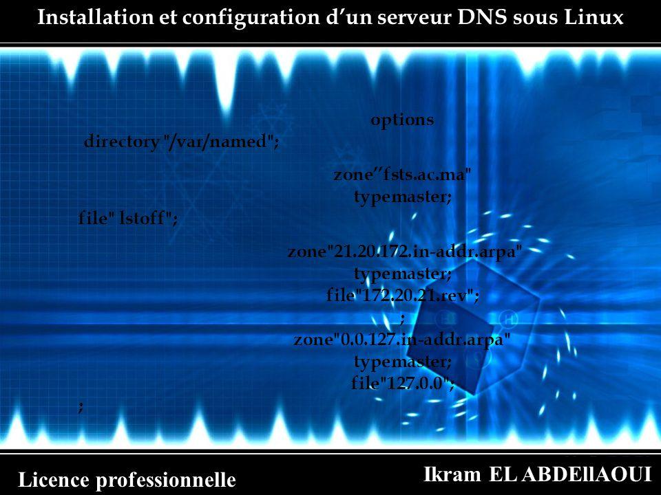 Ikram EL ABDEllAOUI Licence professionnelle Installation et configuration dun serveur DNS sous Linux b.