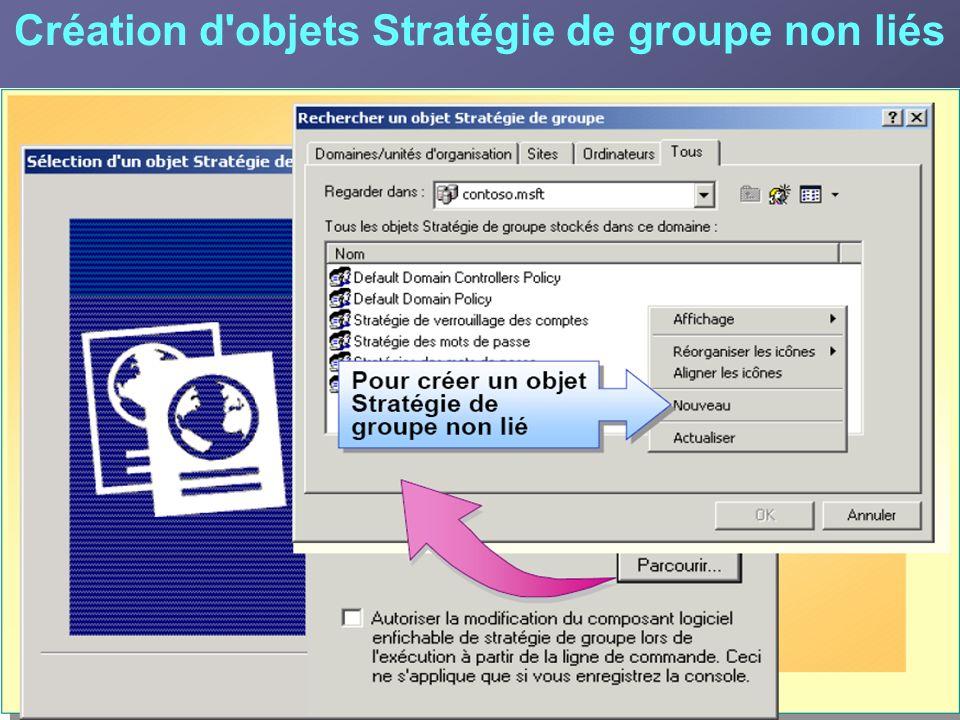 Création d'objets Stratégie de groupe non liés