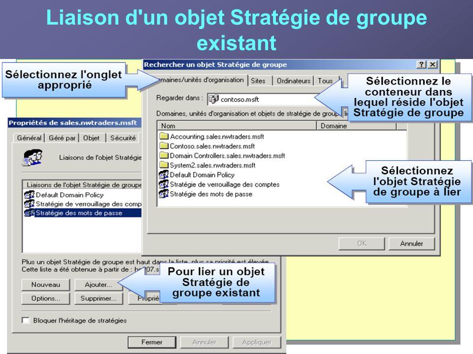 Liaison d'un objet Stratégie de groupe existant