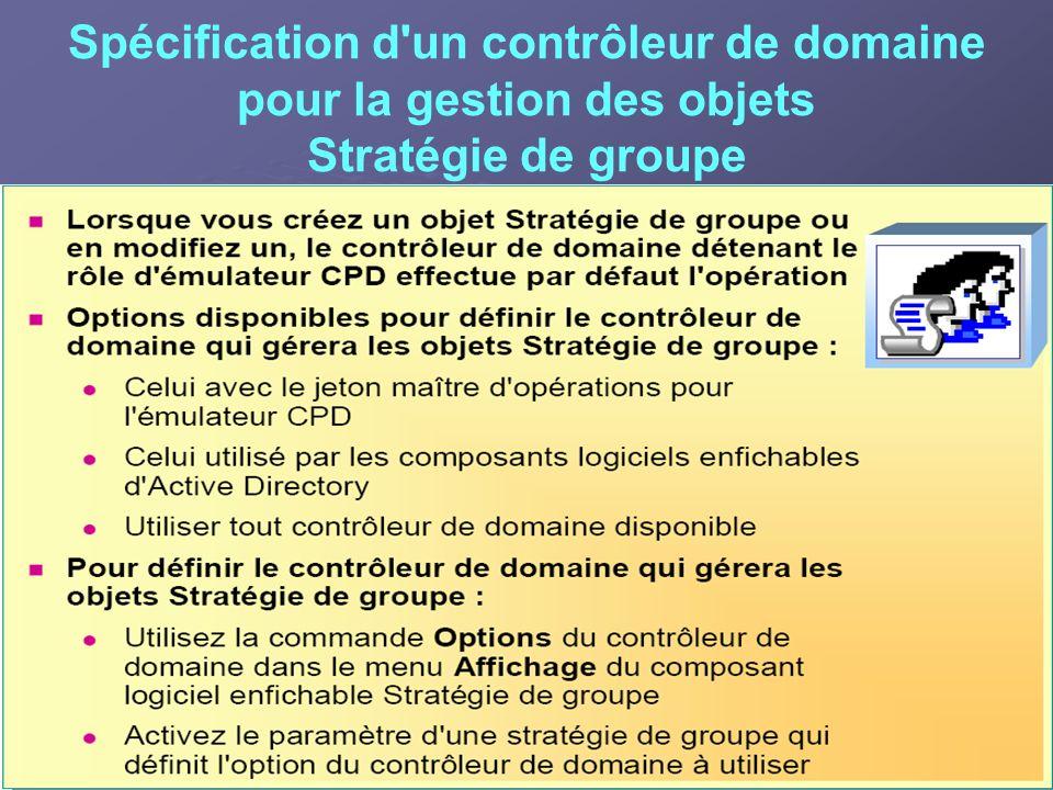 Spécification d'un contrôleur de domaine pour la gestion des objets Stratégie de groupe