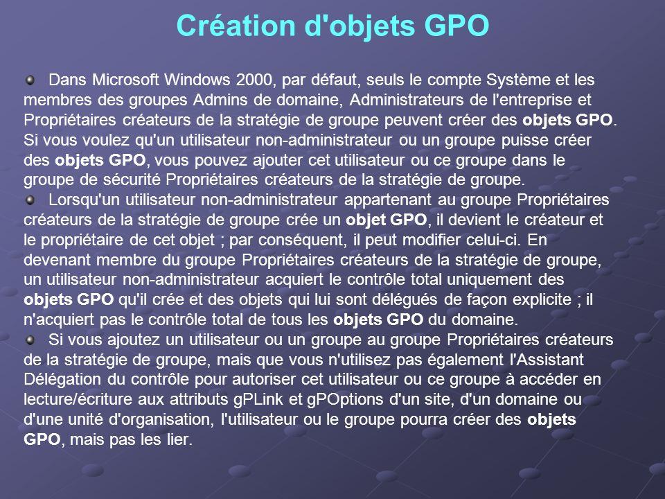 Création d'objets GPO Dans Microsoft Windows 2000, par défaut, seuls le compte Système et les membres des groupes Admins de domaine, Administrateurs d