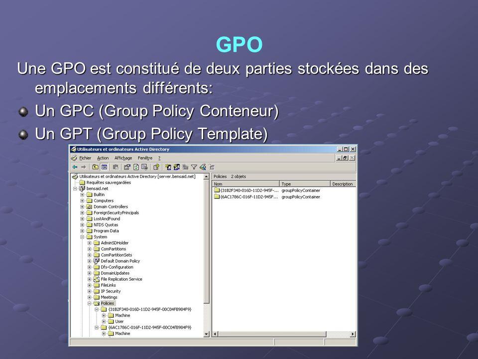 GPO Une GPO est constitué de deux parties stockées dans des emplacements différents: Un GPC (Group Policy Conteneur) Un GPT (Group Policy Template)