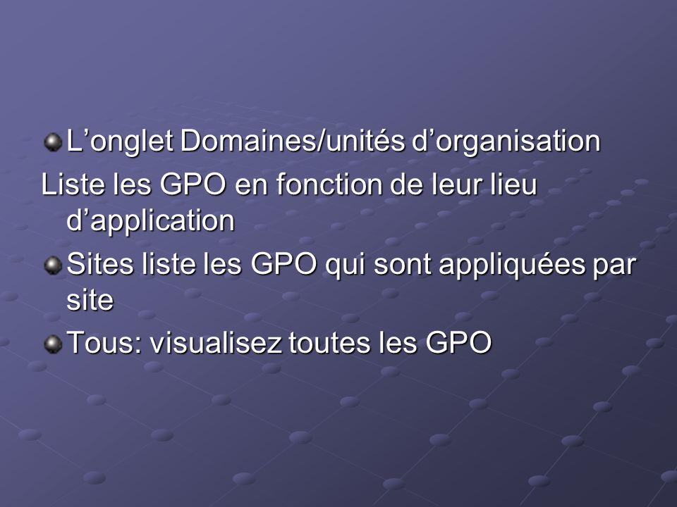 Longlet Domaines/unités dorganisation Liste les GPO en fonction de leur lieu dapplication Sites liste les GPO qui sont appliquées par site Tous: visua